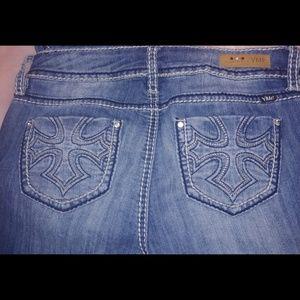 Ymi boot cut cross back pocket design jeans